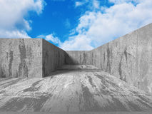 Concrete abstract architecture on cloudy sky background Royalty Free Stock Photo