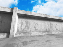 Concrete abstract architecture on cloudy sky background. 3d render illustration vector illustration