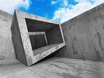 Concrete abstract architecture on cloudy sky background Stock Photos