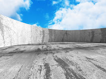 Concrete abstract architecture on cloudy sky background Royalty Free Stock Image