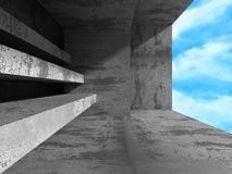 Concrete abstract architecture on cloudy sky background Royalty Free Stock Photos