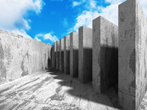 Concrete abstract architecture on cloudy sky background Royalty Free Stock Images