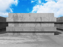 Concrete abstract architecture on cloudy sky background. 3d render illustration Stock Photography