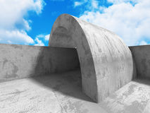 Concrete abstract architecture on cloudy sky. Background. 3d render illustration Royalty Free Stock Photos