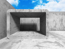 Concrete abstract architecture on cloudy sky background. 3d render illustration Royalty Free Stock Image