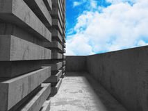 Concrete abstract architecture on cloudy sky. Background. 3d render illustration Stock Image