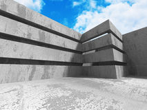 Concrete abstract architecture on cloudy sky background. 3d render illustration Royalty Free Stock Photos
