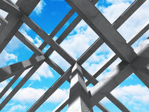 Concrete abstract architecture construction on cloudy sky backgr. Ound. 3d render illustration Royalty Free Stock Photo