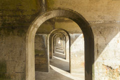 Concrete arches manmade structure, abstract pattern Royalty Free Stock Photos