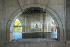 Concrete arches under Founders Bridge in Hartford, Connecticut. Stock Photography