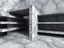 Concrete architecture background. Abstract cube construction. 3d render illustration Royalty Free Stock Photo