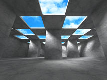 Concrete architecture background. Abstract empty room with sky. 3d render illustration Royalty Free Stock Images