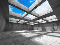 Concrete architecture background. Abstract empty room with sky. 3d render illustration Royalty Free Stock Photos