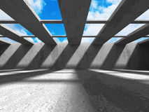 Concrete architecture background. Abstract empty room with sky. 3d render illustration Stock Image
