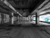 Concrete architecture background. Abstract empty room with sky. 3d render illustration Royalty Free Stock Image
