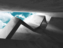 Concrete architecture background. Abstract empty room with sky. 3d render illustration Stock Images