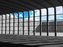 Concrete architecture background. Abstract empty room with sky. 3d render illustration Stock Photography