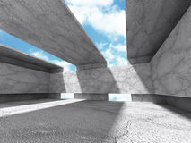 Concrete architecture background. Empty room interior. 3d render illustration Stock Photos