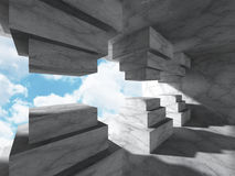 Concrete architecture background. Geometric interior with cloudy Stock Photo