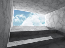 Concrete architecture background. Minimalistic empty room with c. Loudy sky. 3d render illustration Stock Image