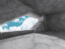 Concrete architecture background. Minimalistic empty room with c. Loudy sky. 3d render illustration Royalty Free Stock Image