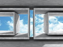 Concrete architecture background. Minimalistic empty room with c. Loudy sky. 3d render illustration Stock Photography