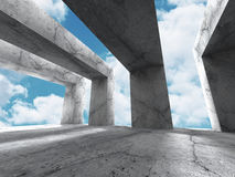 Concrete architecture background. Minimalistic empty room with c Royalty Free Stock Image