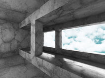 Concrete architecture background. Minimalistic empty room with c. Loudy sky. 3d render illustration Stock Photos