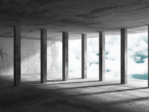 Concrete architecture background. Minimalistic empty room with c. Loudy sky. 3d render illustration Royalty Free Stock Images