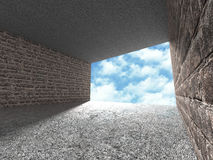 Concrete architecture background. Minimalistic empty room with cloudy sky. 3d render illustration Royalty Free Stock Image