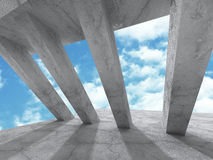 Concrete architecture background. Modern building on cloudy sky Royalty Free Stock Image