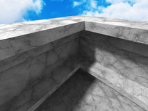 Concrete architecture background. Modern building on cloudy sky Royalty Free Stock Photo