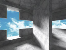 Concrete architecture construction on cloudy sky background. 3d render illustration Royalty Free Stock Image