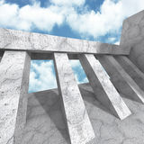 Concrete architecture construction on cloudy sky background. 3d render illustration Stock Photo