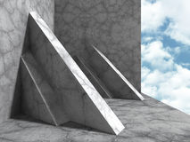 Concrete architecture construction on cloudy sky background. 3d render illustration Royalty Free Stock Images