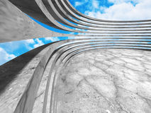 Concrete architecture construction on cloudy sky background. 3d render illustration Stock Photos