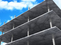 Concrete Architecture Construction On Cloudy Sky Background. 3d Render Illustration Royalty Free Stock Photo