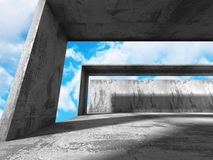 Concrete architecture construction on cloudy sky background. 3d render illustration Stock Images