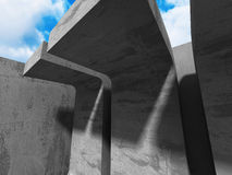 Concrete architecture construction on cloudy sky background. 3d render illustration Stock Image