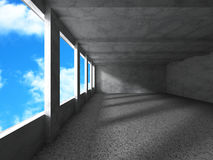 Concrete architecture construction on cloudy sky background. Emp. Ty urban room interior. 3d render illustration Royalty Free Stock Images