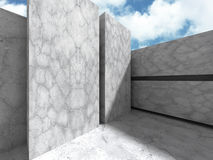 Concrete architecture wall construction on cloudy sky background. 3d render illustration Stock Photo