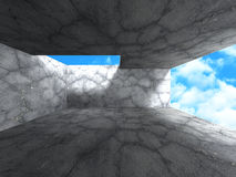 Concrete architecture wall construction on cloudy sky background. 3d render illustration Stock Photography