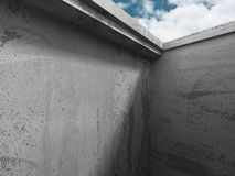 Concrete architecture wall construction on cloudy sky background. 3d render illustration Royalty Free Stock Photo