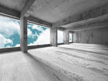 Concrete architecture wall construction on cloudy sky background. 3d render illustration Stock Photos