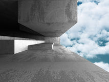Concrete architecture wall construction on cloudy sky background. 3d render illustration Stock Images