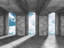 Concrete architectuurachtergrond Abstracte de Bouw moderne desig Royalty-vrije Stock Afbeeldingen