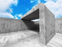 Concrete architectuurachtergrond De abstracte bouw Royalty-vrije Stock Foto's