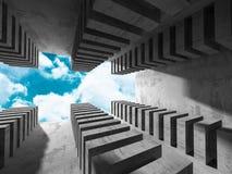 Concrete architectuurachtergrond De abstracte moderne Bouw Stock Foto's
