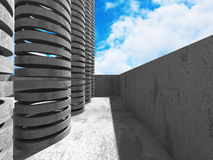 Concrete architectuurachtergrond De abstracte moderne Bouw Royalty-vrije Stock Afbeelding