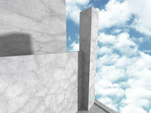 Concrete architectuurbouw Abstracte geometrische backgroun Royalty-vrije Stock Afbeeldingen